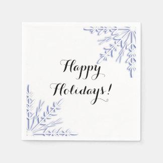 Blue Winter Snowflakes on White Happy Holidays Napkin
