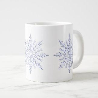 Blue Winter Snowflakes on White Large Coffee Mug