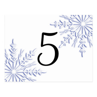 Blue Winter Snowflakes on White Table Number Postcard
