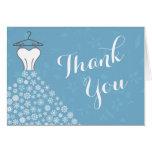 Blue Winter Snowflakes Wedding Dress Thank You Greeting Card