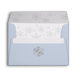 Blue Winter SnowWedding Invitation Envelope