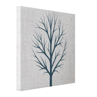 Blue Winter Tree on Gray Burlap Canvas Print