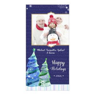 Blue Winter Trees Holiday Family Photo Card