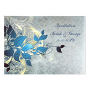 blue leaves winter wedding invites by mgdezigns