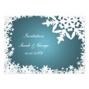 Blue and white snowflakes winter wedding invites by mgdezigns