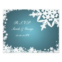 blue winter wedding rsvp cards