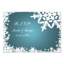 blue winter wedding rsvp standard 3.5 x 5 card