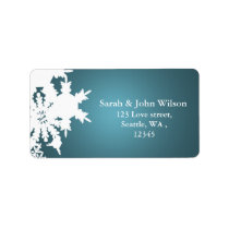 blue winter wedding snowflake return address label
