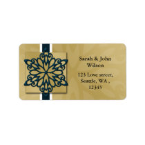 blue winter wedding snowflake return address label