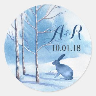 Blue Winter Winter Trees Monogram Wedding Classic Round Sticker