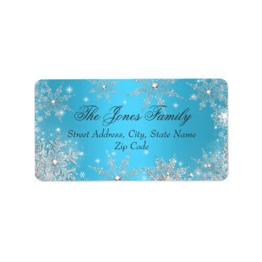 Christmas Themed Blue Winter Wonderland Christmas Address Labels
