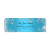 Blue Winter Wonderland Christmas Address Labels