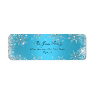 Blue Winter Wonderland Christmas Address Labels at Zazzle