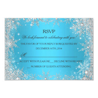 Blue Winter Wonderland Christmas Holiday RSVP Personalized Announcements