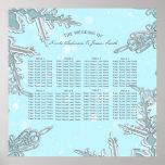 Blue Winter Wonderland Snowflakes Wedding Seating Poster