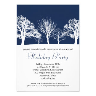 Blue Winter Wood Corporate Holiday Party Personalized Announcement