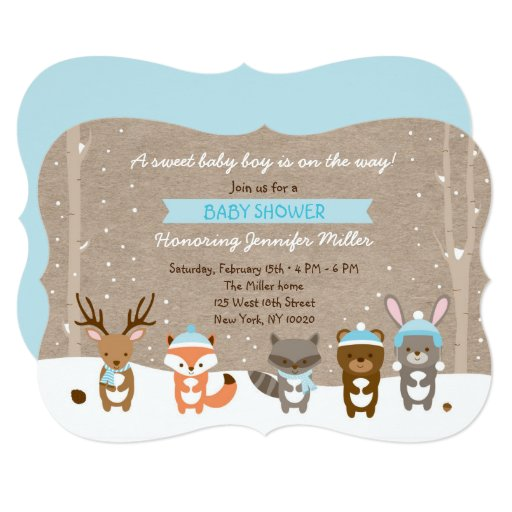 Blue Winter Woodland Animal Baby Shower Card