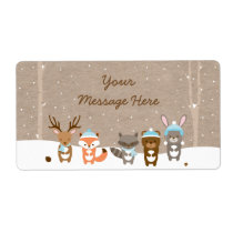 Blue Winter Woodland Animal Baby Shower Favor Label