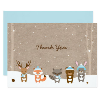 Blue Winter Woodland Animal Baby Shower Thank You Card