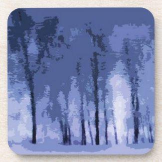 Blue Winter Woods Beverage Coaster