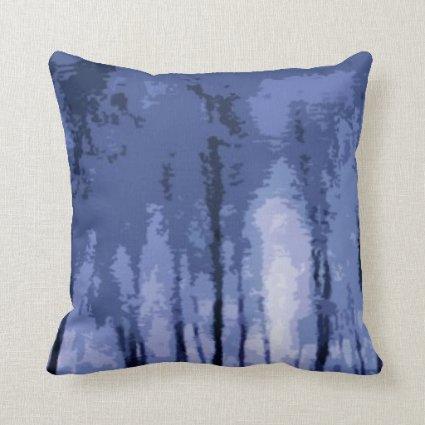 Blue Winter Woods Throw Pillow