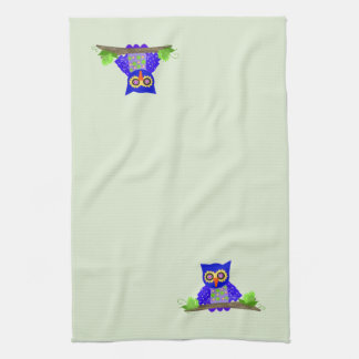 Blue Wise Owl Hand Towels