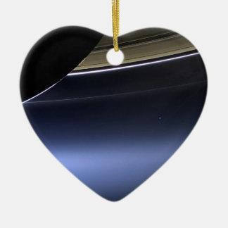 blue wispy rings of saturn ceramic ornament