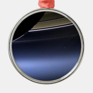 blue wispy rings of saturn metal ornament