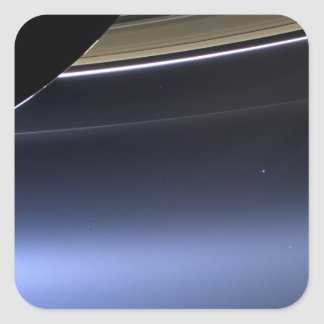 blue wispy rings of saturn square sticker