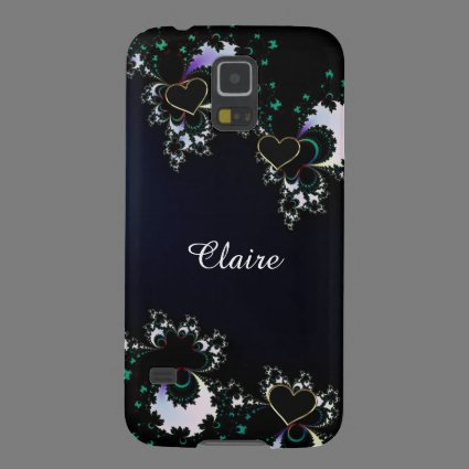 Blue with Black Hearts Monogram Galaxy S5 Case