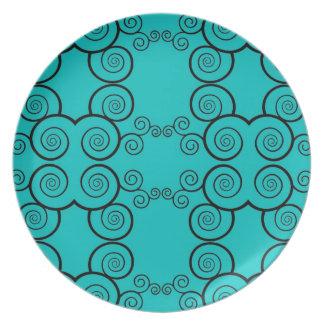 Blue with Black Spirals Plate