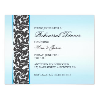 Blue with Black Swirly Ribbon Rehearsal Dinner 4.25x5.5 Paper Invitation Card