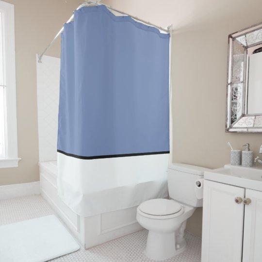Blue With Black White Plain Shower Curtains