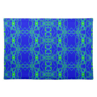 blue with bright green lace-like pattern placemat