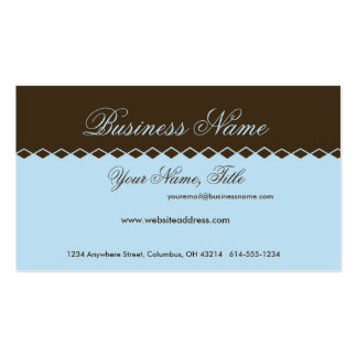 Blue with Brown Diamond Topper Business Cards