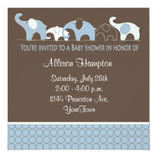 """Blue with Brown Elephant Baby Shower Invitations 5.25"""" Square Invitation Card"""