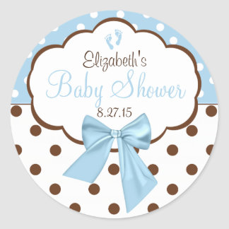 Blue With Brown Polka Dots Baby Shower Classic Round Sticker