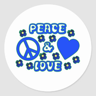 Blue with Flowers Peace and Love Design Classic Round Sticker