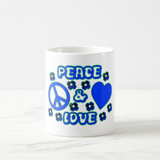 Blue with Flowers Peace and Love Design Coffee Mug