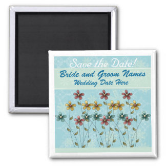 Blue with Flowers Save the Date Fridge Magnet