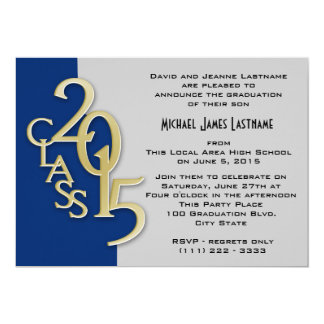 Blue with Gold Class of 2015 Invitation