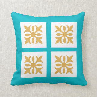 Blue with Gold Ornament Throw Pillow