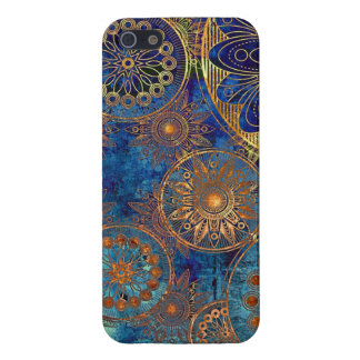 Blue with Gold Pattern Circles iPhone 5 Case