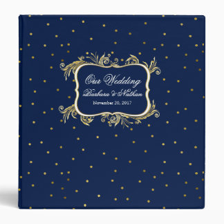 Blue with Gold Polka Dots Custom Wedding Binder
