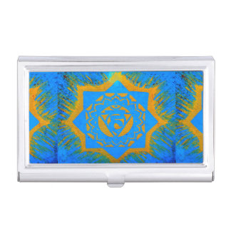 blue with gold tibetan design case for business cards