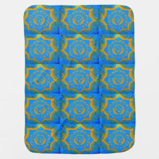 blue with gold tibetan style swaddle blanket