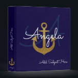 """blue with golden anchor, nautical &amp; custom binder<br><div class=""""desc"""">A blue background with a golden sailor anchor and your own name in a script font-style with custom subject...  a stylish and girly design</div>"""