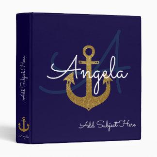 blue with golden anchor, nautical & custom binder