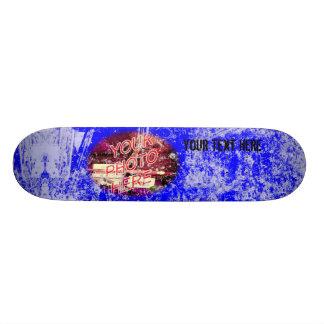 Blue with Light Grunge Photo Template Skateboard