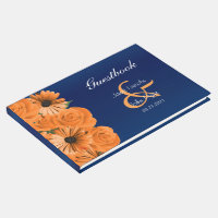 Blue with Orange Rose & Daisy  Guestbook